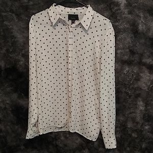 Brown and white polka for button down